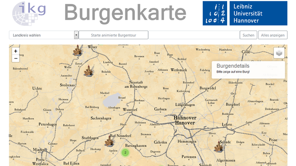 Screenshot von der interaktiven Burgenkarte